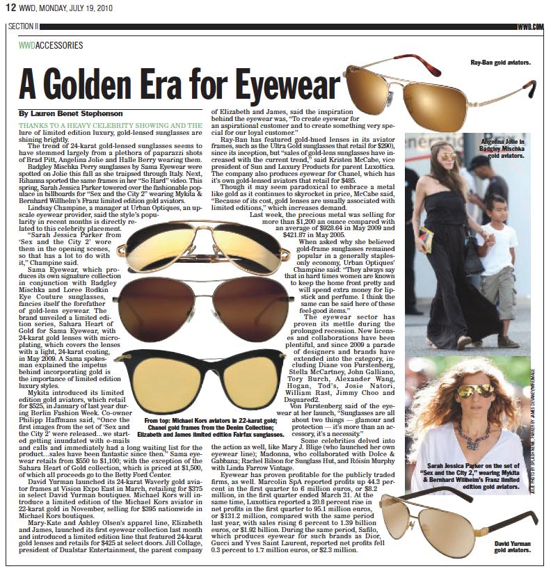 fe80cf7d10a6c Women s Wear Daily Accessories Supplement  Gold Sunglasses
